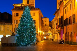 Christmas tree in Old Town of Alba.