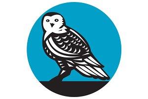 Snowy Owl Circle Retro