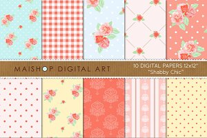 Digital Paper - Shabby Chic