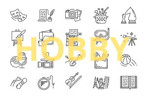 Hobby icons set