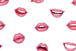 Female lips seamless pattern vector