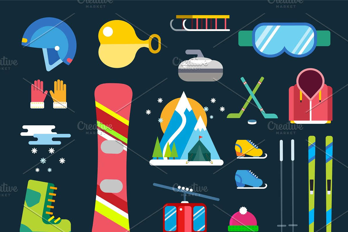 5588aee16348 Winter sport vector icons set ~ Illustrations ~ Creative Market