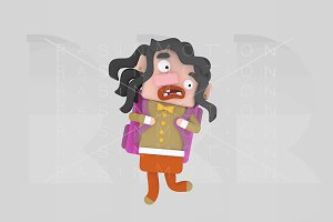 3d illustration. Girl with bag.