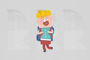 3d illustration. Kid with bag.