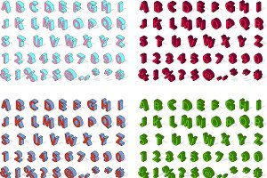 Isometric alphabet vector set