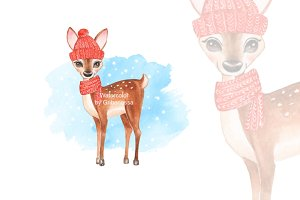 Card with fawn. Watercolor