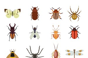 Insect icons flat vector set