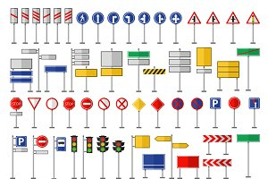 Road signs and symbols vector