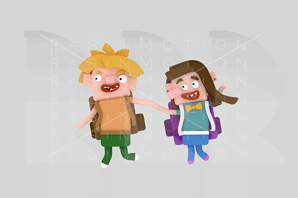 3d illustration. Children bags. - Illustrations