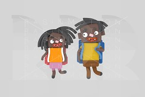 3d illustration. Black children bags