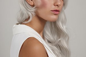 woman with white grey hair
