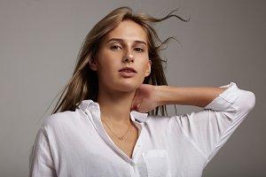 blonde woman ideal straight hair