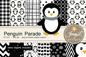Penguin Digital Papers & Clipart