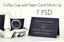 Coffee Cup and Paper Card Mock-Up