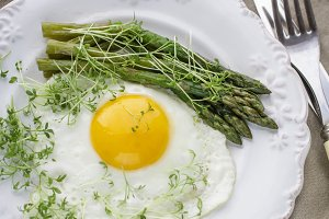 Fried eggs and asparagus