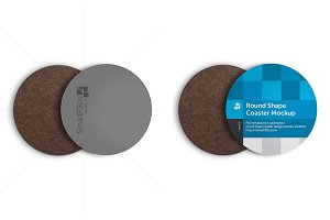 Round Shape Coasters Design Mockup