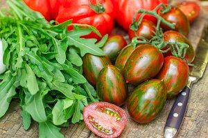 Tomatoes and arugula