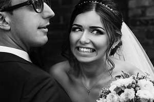 Funny emotions on the bride's face