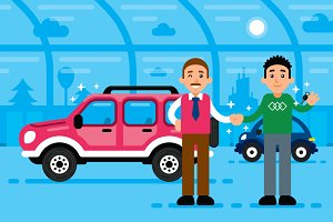 Car Selling Showroom Illustration