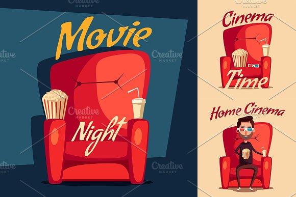 Cinema Night. Home movie watching - Illustrations