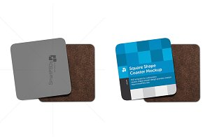 Square Shape Coasters Mockup