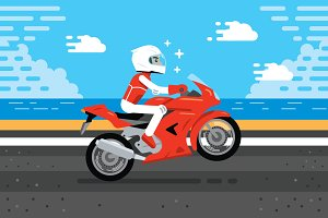 Motorbike Biker Illustration Clipart