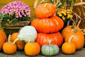 Fall decorations of pumpkins