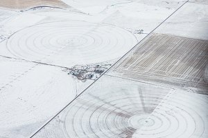 Aerial view of irrigation circles