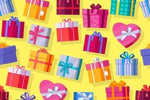 Seamless Pattern Gift Boxes