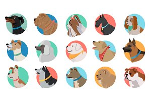 Set of Dog Round Icons