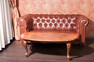 Leather sofa in vintage style