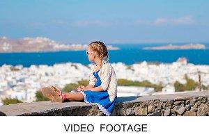 Adorable girl background Mykonos
