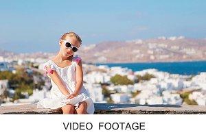 Portrait of girl background Mykonos