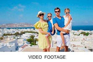 Family having fun on Mykonos island