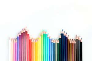 Colorful watercolor pastels lined up