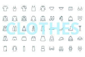 Clothes - 45 simple icons
