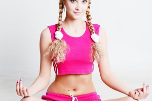 fitness woman sitting