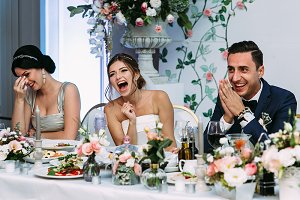 Laughing on the wedding