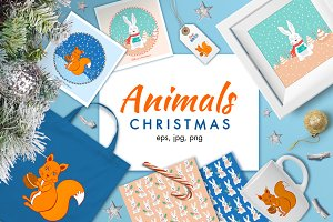 Christmas animal illustrations