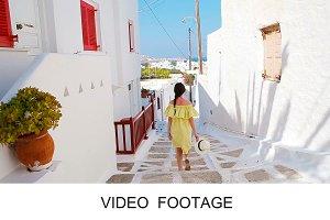 Woman in old streets an Mykonos