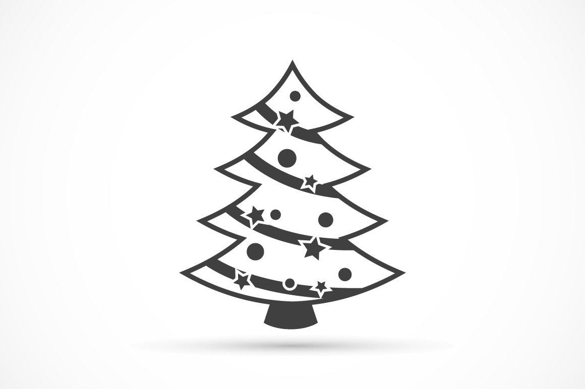 Christmas Tree Icon Flat