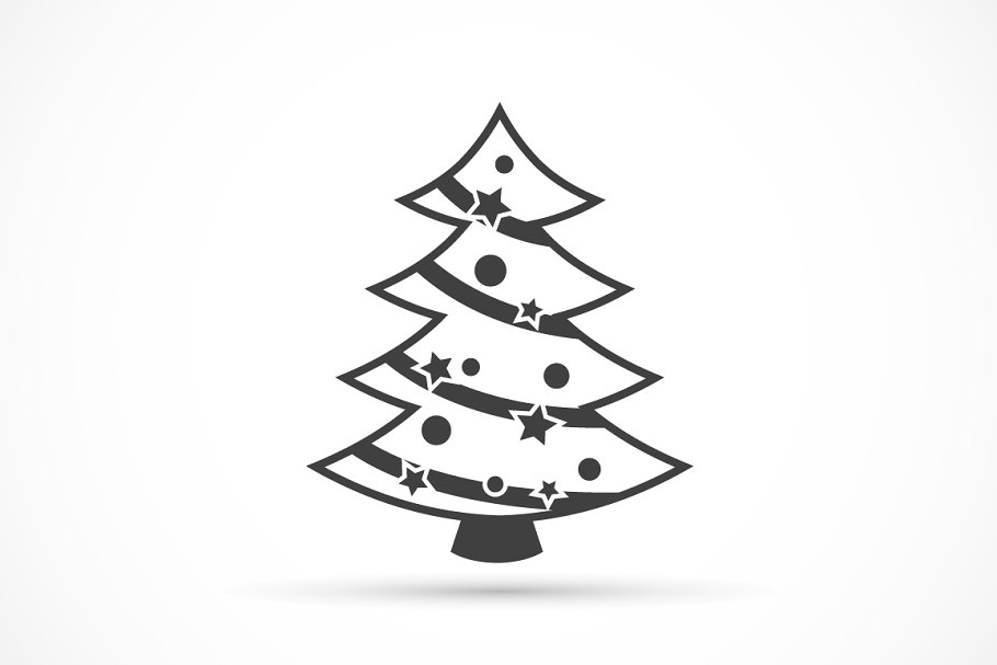 Christmas Tree Icon.Christmas Tree Icon Flat