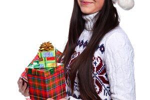 woman in red christmass hat