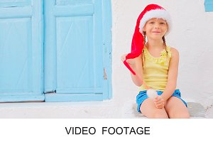 Girl Christmas vacation in Mykonos