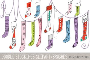 Doodle Christmas Stockings Clipart