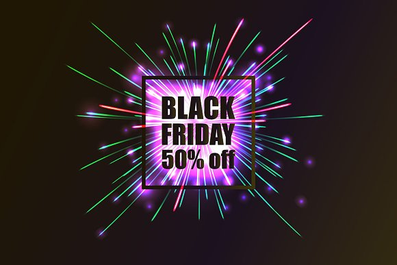 Black Friday. 5 Colored Banners - Graphics