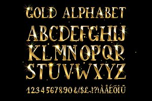 Golden English alphabet
