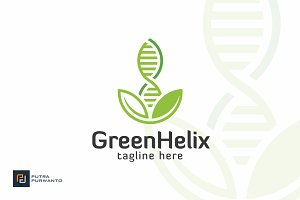 Green Helix - DNA Logo