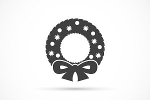 Christmas wreath icon flat
