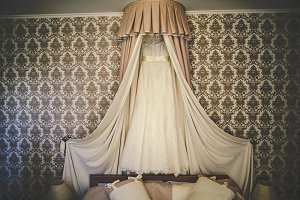 Wedding dress under the bed